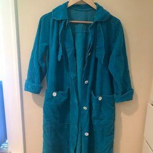 turquoise corduroy trench coat